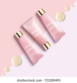 Realistic 3D template design cosmetics packaging. Tube cream is a bright, fashionable, youthful background, a top view. Advertising of fashionable cosmetics. Vector illustration.