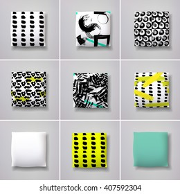 Realistic 3d throw pillow models with different prints and patterns. Apartment interior design elements set. Cushions vector collection.