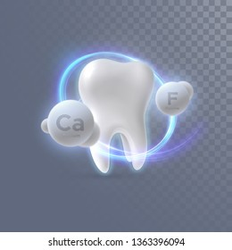 Realistic 3d tooth with calcium and fluorine particles isolated on transparent background. Vector dentistry illustration. Medical or healthcare concept. Teeth protection. Toothpaste ads design element