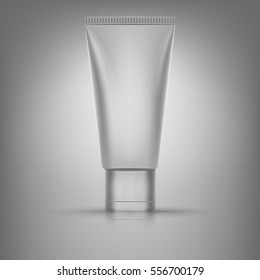 Realistic 3d tube of cream or gel . Empty product mockup with reflection . Beautiful cosmetic ads