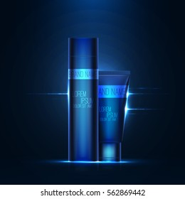 Realistic 3d tube of cream or gel with lens flare effect . Empty product mockup with reflection . Beautiful cosmetic ads . Brand presentation . Concept of packaging design . Vector illustration