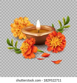 Realistic 3d vector composition of Diwali Oil Lamp and marigold flowers. Traditional Indian copper or brass diya lamp for Diwali festival