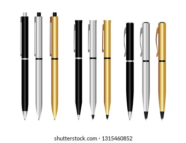 Realistic 3d vector pens. Gold, black, silver pen, for applying Corporate identity and branding of office supplies. Design template, mock up stationery pen.