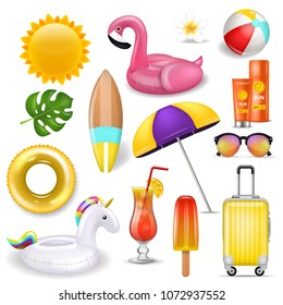 Realistic 3D vector summer holidays symbols objects set.