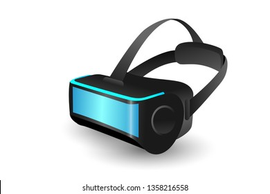 Realistic 3d Virtual Reality Headset Box Closeup View Futuristic Innovation Technology and Simulation Concept.Creative and Modern design in EPS10 vector illustration.