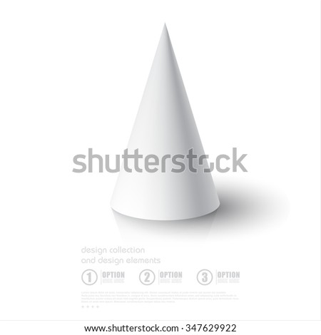 Realistic 3D White Cone On Background With Reflection Design Template For Mock