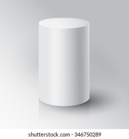 Realistic 3D White Cylinder. Cylinder on white background with reflection. Design Template for Mock Up. Vector illustration