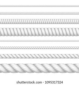 Realistic 3d White Detailed Thickness Rope Line Set Element of Border of Frame. Vector illustration of Strong Ropes or Cords