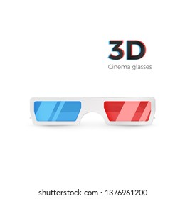 Realistic 3d white glasses front view. Paper cinema glasses with red and blue glass. Vector illustration isolated on white background
