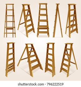 Realistic 3d wood step ladder isolated collection different shapes for interior and construction, vector illustration