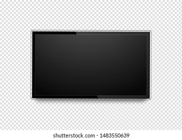 Realistic 4k ultra hd monitor. Blank black tv screen. Modern high definition TV. LCD vector display isolated on transparent background