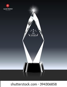 Realistic 5 Star award Vector Glass Trophy in Crystal shape
