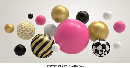 Realistic abstract 3D ball. Geometric memphis composition, geometrical basic sphere colored concept vector background illustration. Sphere ball and bubble color multicolored pattern ball