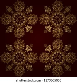 Realistic Abstract Golden Seamless Pattern Elegant Light And Shine Vector Template On Brown Background