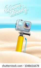 Realistic action camera on beach sand background. 3d digital equipment in waterproof box with float. Active leisure, extreme water sports object, vector summer holiday vacation poster design template