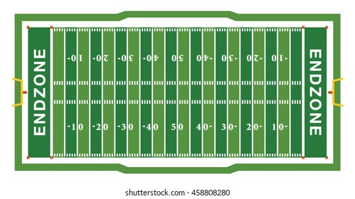 A realistic aerial view of an official American football field layout dimensions. Vector EPS 10 available.