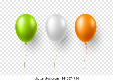 Realistic air balloons in traditional indian tricolor. Decorative elements for national holidays of India. Vector illustration.