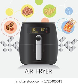 Realistic air fryers with  fried foods. It's a smart kitchen appliance that cooks by circulating hot air.