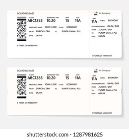 Realistic airline ticket or boarding pass design with unreal flight time and passenger name. Vector illustration of pattern of a boarding pass