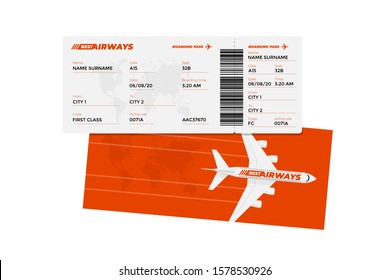 Realistic airline ticket boarding pass design template with passenger name and barcode. Air travel by airplane red color document vector illustration