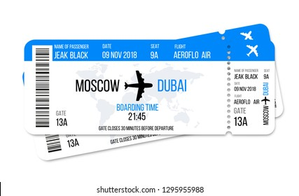Realistic airline ticket design with passenger name. Vector illustration