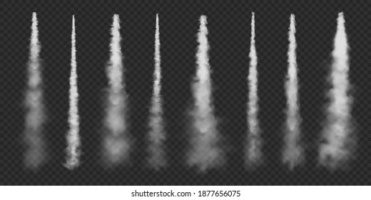 Realistic airplane condensation trails. Space rocket launch. Missile or bullet trail. Jet aircraft tracks. White smoke clouds, fog. Steam flow. Vector illustration.