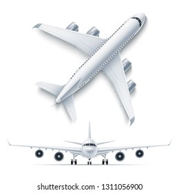 Realistic airplane mockup top, front view 3d . Symbol of travelling and tourism. Airline jet, aviation transportation charter. Modern airliner with turbines. Passenger aircraft, vector illustration