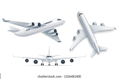 Realistic airplane mockup top, front view 3d . Symbol of travelling and tourism.