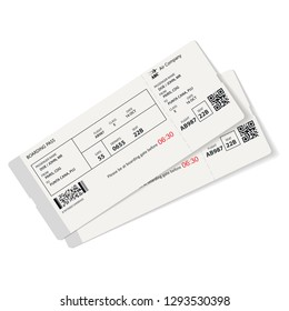 Realistic airplane template. Boarding pass vector illustration