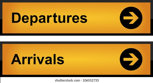 Realistic airport sign - arrivals and departures