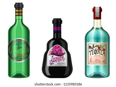 Realistic alcohol drinks in a bottle with different vintage labels. Absent Liqueur Tequila. Vector illustration.