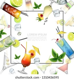 Realistic Alcoholic Beverages Template