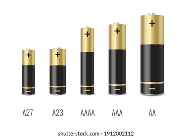 Realistic alkaline battery set with different size isolated on white background. Mockup template. 3d cylinder batteries collection. Vector illustration