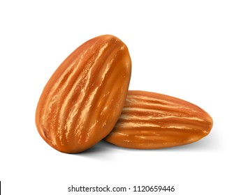 Realistic almond nuts isolated on white background. Vector illustration. Ready to use for your design, presentation, promo, ad. EPS10.