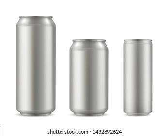 Realistic aluminium can set, soda drink container. Light, durable and functional beverages, beer and soft drink packaging. Vector aluminium can illustration