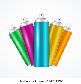 Realistic Aluminium Colorful Spray Can Set for Urban Street Wall Graffiti or Cosmetic Aerosol Product. Vector illustration