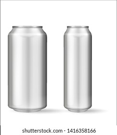Realistic aluminum can on white background. Mockup, blank can with copy space