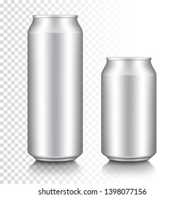 Realistic aluminum can set, isolated on transparent background.