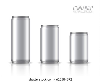 Realistic aluminum cans. Vector illustration. EPS 10. The image of the empty layout for your design. Package design. 3D packaging. Bottle with water drops. Mock up illustration.