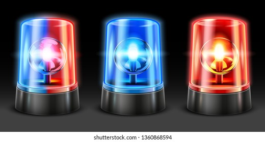 Realistic ambulance flashing. Police light flasher, safety lights and warning siren flashing lamps. Emergency light, accident flasher or rescue alarm 3D vector isolated objects set