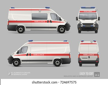 Realistic Ambulance Service Van template isolated on grey. Emergency Medical van. Hospital service car white color with red stripes vector template