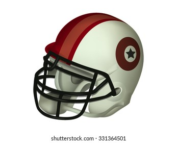 Realistic American Football Helmet, Vector Isolated on White