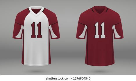 17d23947a Realistic american football jersey of Arizona Cardinals, shirt template for  kit. Vector illustration