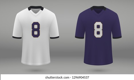 Realistic american football jersey of Baltimore Ravens, shirt template for kit. Vector illustration