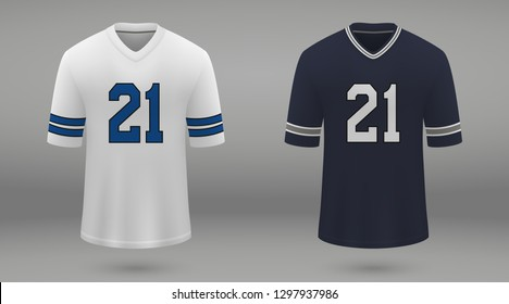 Realistic american football jersey Dallas Cowboys, shirt template for kit. Vector illustration