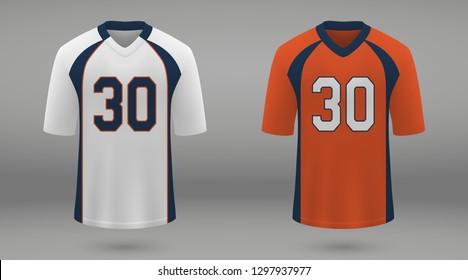 Realistic american football jersey Denver Broncos, shirt template for kit. Vector illustration