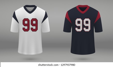 Realistic american football jersey Houston Texans, shirt template for kit. Vector illustration
