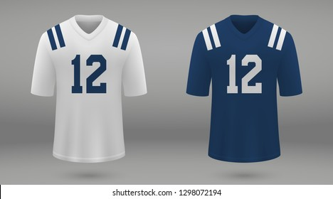 Realistic american football jersey Indianapolis Colts, shirt template for kit. Vector illustration