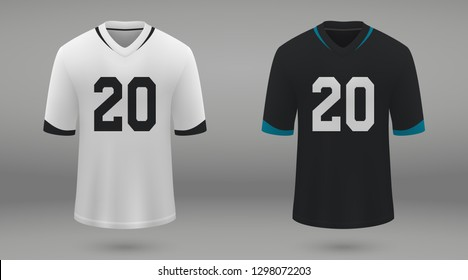 Realistic american football jersey Jacksonville Jaguars, shirt template for kit. Vector illustration