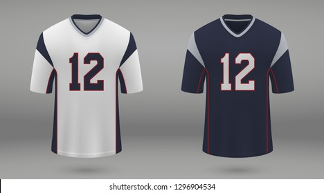 Realistic american football jersey of New England Patriots, shirt template for kit. Vector illustration